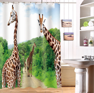 Charmant Image Is Loading Waterproof 60x72 034 Shower Curtain Giraffe Green Jungle