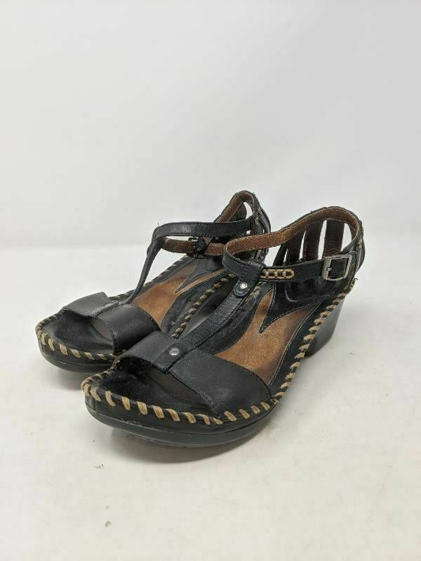 Ariat Womens Sandal Wedge Heels Shoes Black Buckle Ankle Strap Whipstitch 8 B