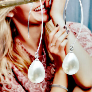 Women-925-Silver-Ear-Jewelry-hook-Pearl-Long-Drop-Dangle-Earrings-Gift-Jewelly