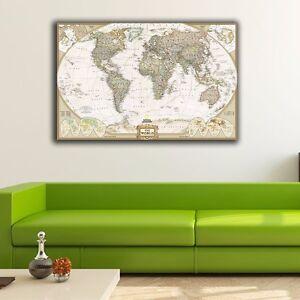 40603cm vintage world map canvas print framed wall art office home image is loading 40 60 3cm vintage world map canvas print gumiabroncs Image collections