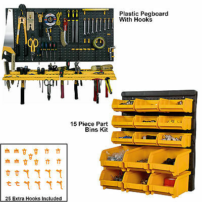 Plastic Pegboard Toolboard Parts Bin Tool Kit Home DIY Workstation Shelf BiGDUG