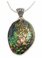 Paua Abalone Shell Snake Necklace Pendant Sterling Silver Hand Wire Design