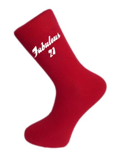 Great 21st Birthday Gift Fabulous 21 on Red Socks