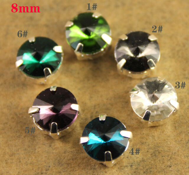 50pcs Glass Rhinestone 8mm Sew On Crystal Round Fancy Stone Foiled Element Y-pk