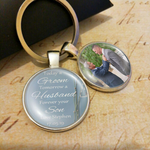 Personalised Son Father of the Groom Wedding Photo Keyring Fathers Day Gifts