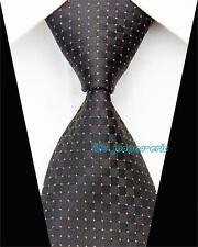 Black 100% Pure Silk Men's  Neck Tie with a Small Orange Dot Pattern
