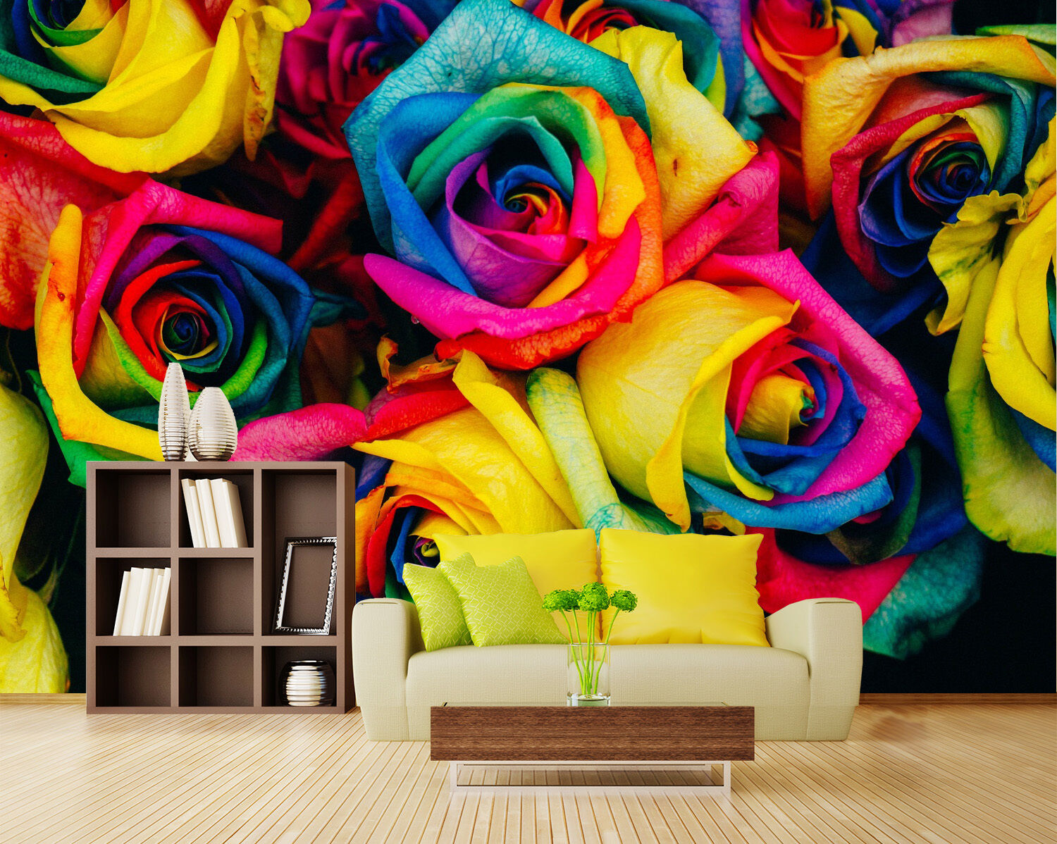 3D Farbeed rose painting Wall Paper Print Decal Wall Deco Indoor wall Mural