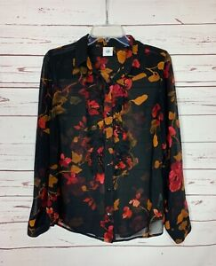 Cabi-Women-039-s-S-Small-Black-Floral-Catherine-Ruffle-Front-Long-Sleeve-Top-Blouse