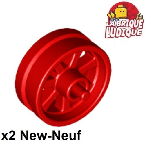 Lego 2x wheel rim 0 19/32in D. x 0 1/4in City Motorcycle moto red/red 50862 NEW