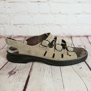 Details about Clarks Springer Sunbeat Women Sandal Brown Leather 3 Strap Shoes Size 9.5 M
