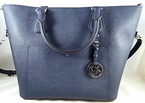 f05833906672 Image is loading Michael-Michael-Kors-Greenwich-Large-Navy-Saffiano-Leather-