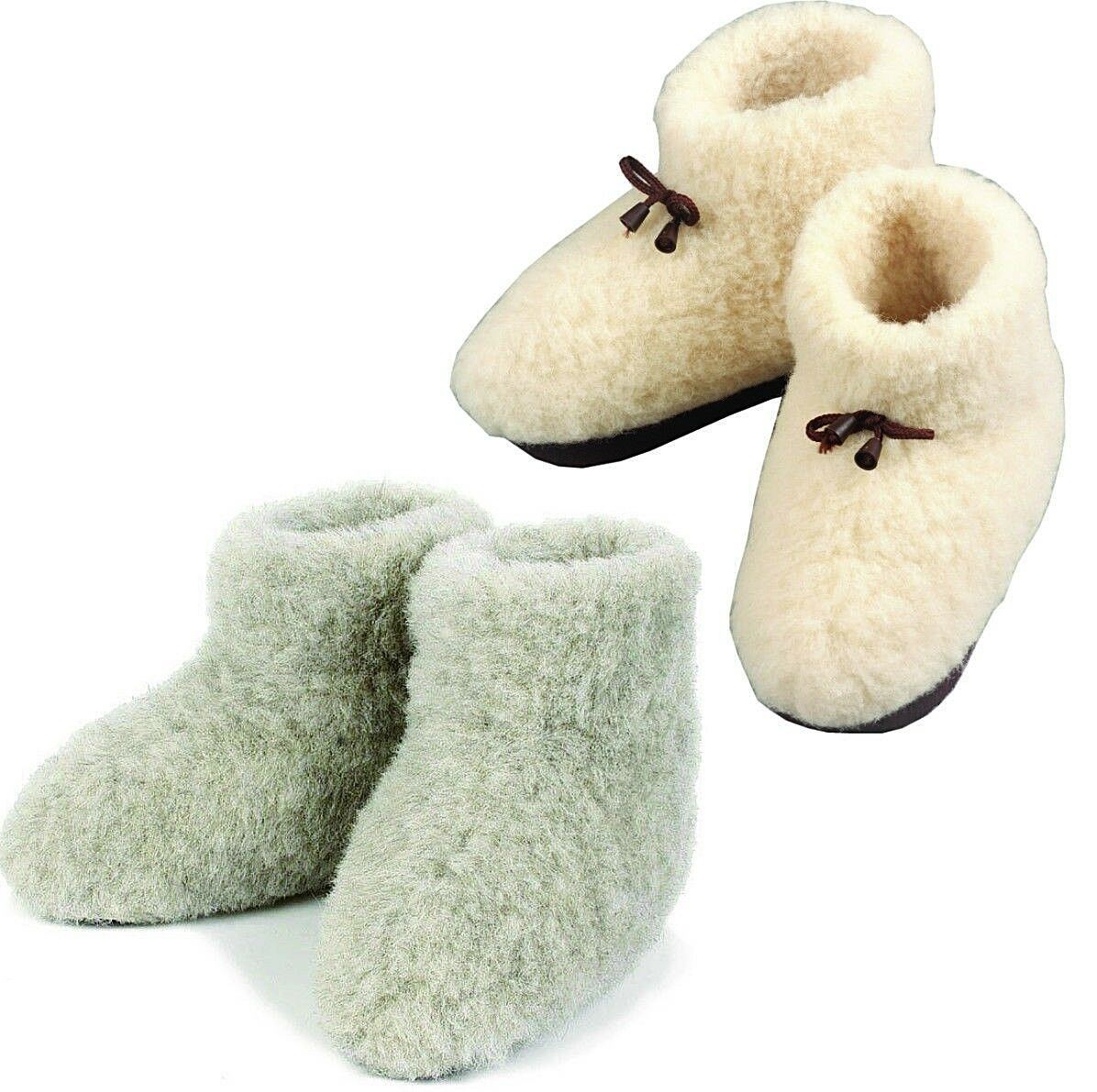 COZY FOOT Pure - Womens, Mens 100% Pure FOOT Sheep Wool sheepskin size 3-11 Slippers Boots 239ab6