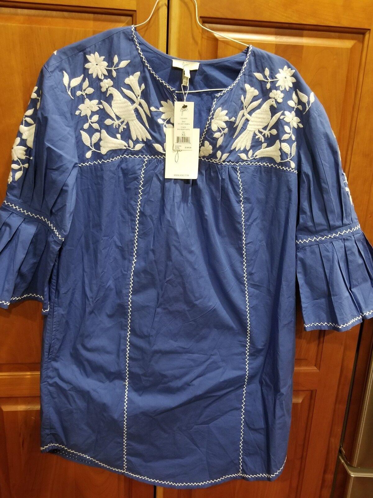 Joie Clodah Embroidered Bell Sleeve Poplin Dress Baja bluee w w w White XS NWT  268 b36824