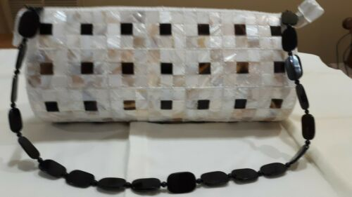 Oblong Handbag/Purse Handsewn Plastic Tiles with B