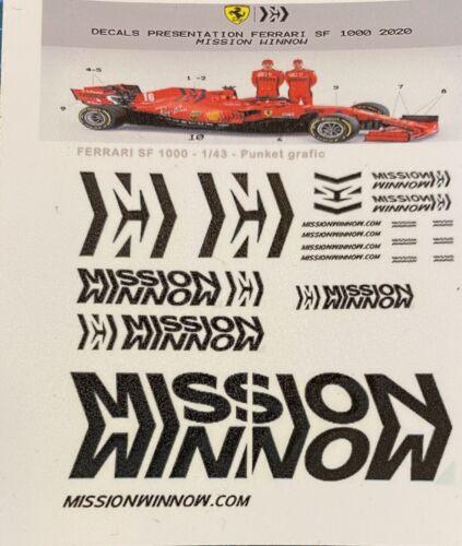 1//43 Decals Calcas Ferrari SF1000 2020 présentation Mission Winnow