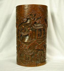 bambu-Jarra-de-pinceles-China-XIX-e-Bamboo-China-cepillos-Pote-del-XIX-22-5-cm