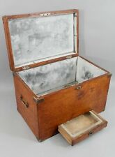 Small Antique Early 20thC Oak Zinc Lined Traveling Ice Cooler No Reserve
