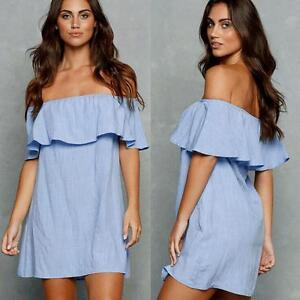Summer-Women-Off-Shoulder-Boho-Loose-Tops-Blouse-Casual-Short-Mini-Dress-Sexy
