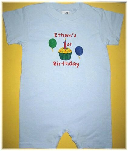 Personalized 1st 2nd Birthday ROMPER Shortall Shirt CUPCAKE /& Balloons OR Hat