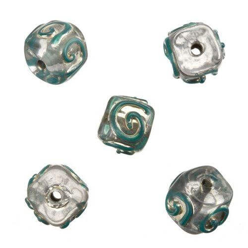 A84 // 13 Spirale Transparent Cube turquoise fait main indien perles de verre 10mm Pack de 5