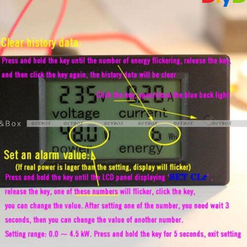 20A AC Digital LCD Panel Meter Monitor Power Energy Voltmeter Ammeter Voltage