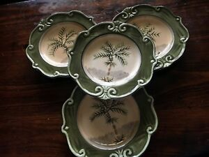 4-Sauvignon-West-Indies-Salad-Plates-Palm-Tree-Type-A-Green-and-Tan-Stoneware