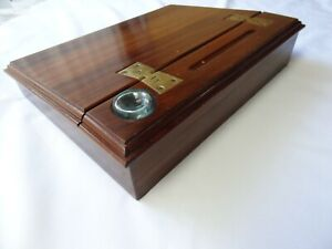 RARE-Vintage-Alfred-Dunhill-England-STATIONARY-BOX-Inkwell-Wooden-LETTER-Dovetai