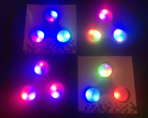 LOT 2x 3 5 10x Finger LED LIGHT-UP glow flashing TRI-FIDGET SPINNER EDC hand toy