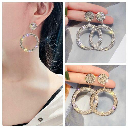 1Pair Blingbling Ladies Big Round Cubic Zircon CZ Crystal Elegant Hoop Earrings
