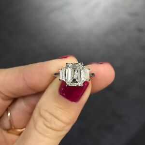 3-90Ct-Certified-White-Emerald-Cut-Diamond-Engagement-Wedding-Ring-In-14K-Gold