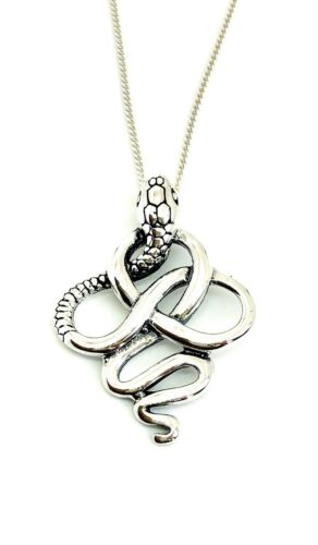 925 Sterling Silver Solid Cobra Snake Pendant Charm with Silver Curb Chain