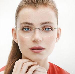 ffc4d8357b3 Image is loading Cateyes-Rimless-titanium-Eyeglasses-frames-Glasses-Women- Eyewear-