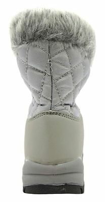 Childrens Unisex Silver Lace Up Snow Boot With Fur Trim
