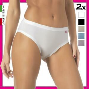 2 slip da donna cotone elasticizzato midi vita media mutande 100% Made in Italy