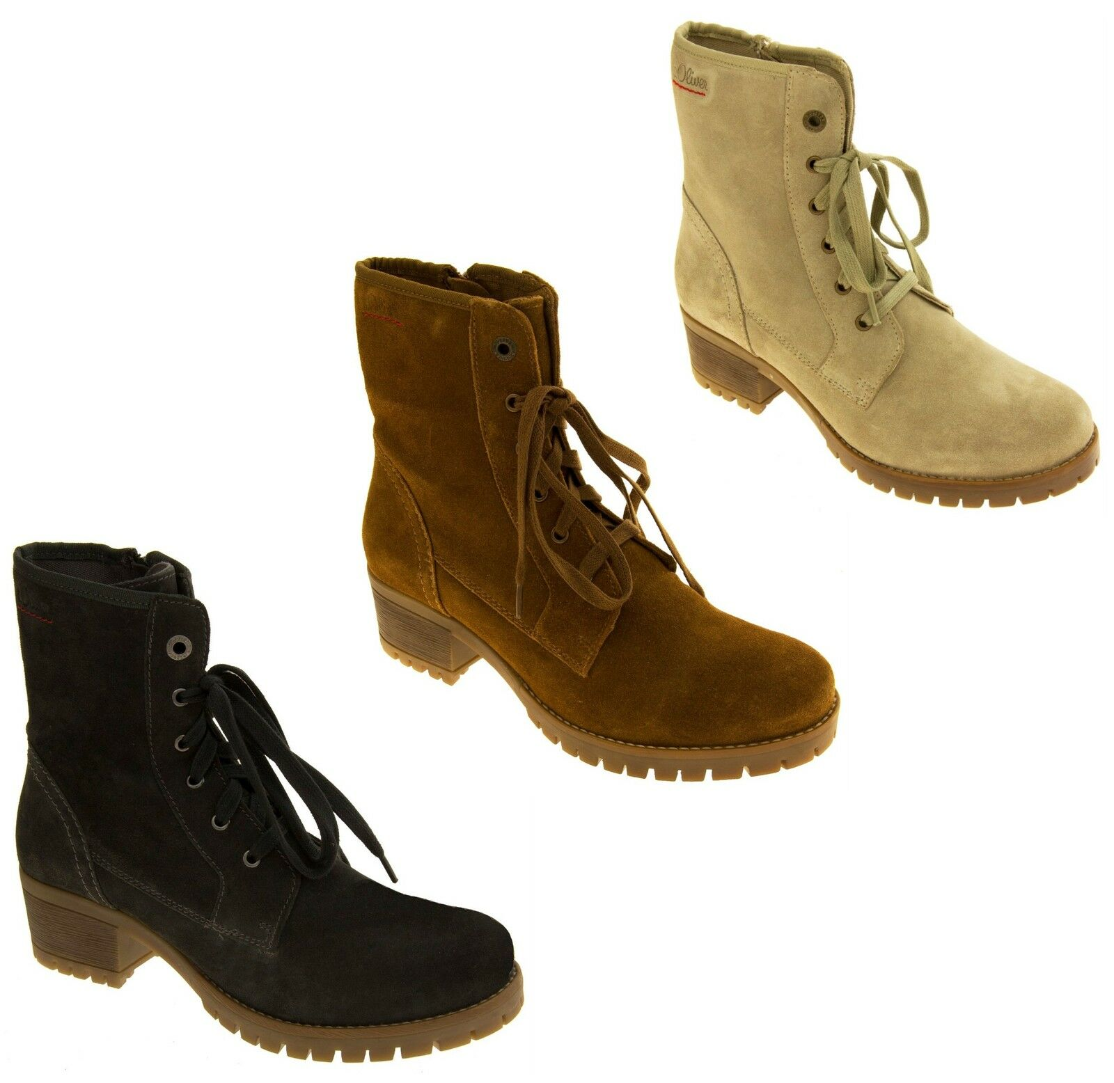 Womens Suede Leather s.Oliver Ladies 4 Military Zip Ankle Boots Sz Size 4 Ladies 5 6 7 8 4712e1