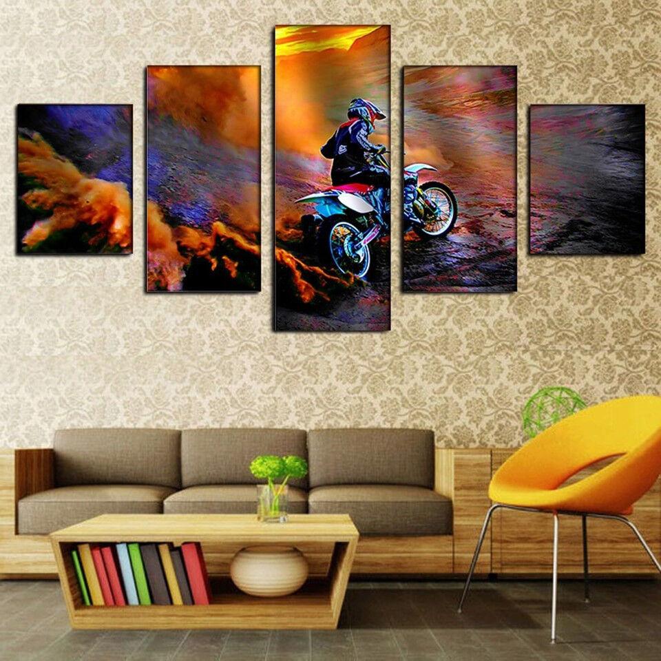 Motocross Dirt Fahrrad Racing Sports Ride 5 Panel Canvas Drucken Wand Kunst Home Decor
