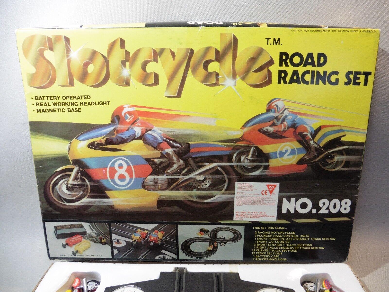 CIRCUIT MOTO SLOTCYCLE ROAD RACING RACING RACING SET NO.208  MADE IN HONG KONG SOLD IN L' 86367b