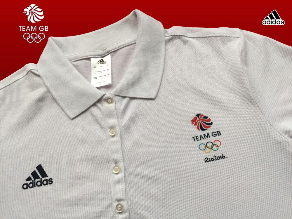"""Adidas Team Gb Problème Femelle Sportif D'élite Présentation Polo Shirt Taille 14 38"""" Sensation Confortable"""
