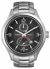 NEW TIMEX T SERIES SILVER TONE,MULTIFUNCTION,BLACK DIAL, AUTOMATIC WATCH-T2M9766