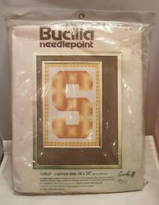 Vintage-Bucilla-Needlepoint-Initial-Embroidery-Kit-4902-14-x-20-Never-Opened