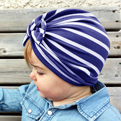 Toddler Kids Baby Girl Bpy Striped Hospital Cap Infant Comfy Bowknot Beanie Hat