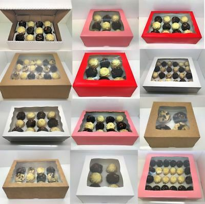 PREMIUM Mini Windowed Cupcake Boxes for 6 Cup Cakes AND MINI MUFFIN With Inserts