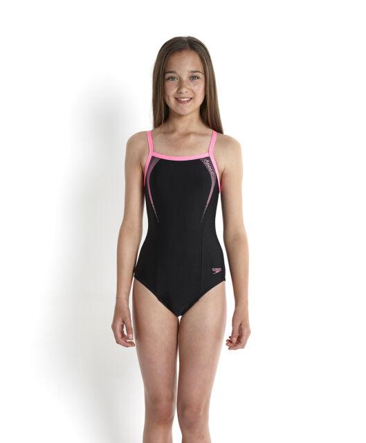 Speedo Sports Logo Thinstrap Muscleback Girls Swimsuit 32in Black Ebay