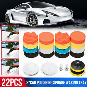 "19Pcs Car Polishing Kit 3/"" Polishing Buffing Sponge Pads 10mm Adapter Wheel"