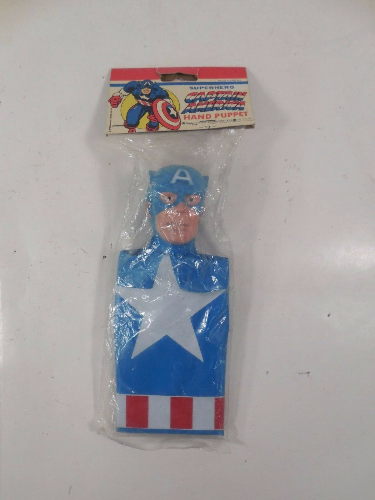 SEALED IMPERIAL TOYS MARVEL SUPERHERO CAPTAIN AMERICA HAND PUPPET MIP 1978