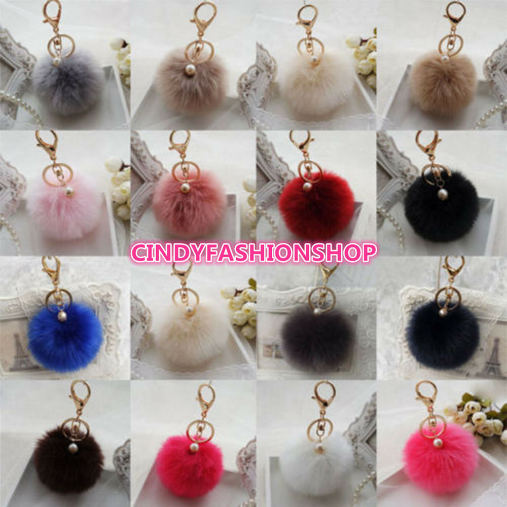 10CM Rabbit Fur Fluffy Pompom Ball Handbag Car Pendant Charm Key Chain Key rings