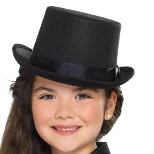 9b46b73ebbf9b 1 of 3FREE Shipping Childs Top Hat Kids Childrens Fancy Dress Boys Girls  Topper Hat Black by Smiffys