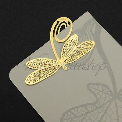 Creative Reading Dragonfly Gold Golden Metal Clip Bookmark Book Mark Kids Gift