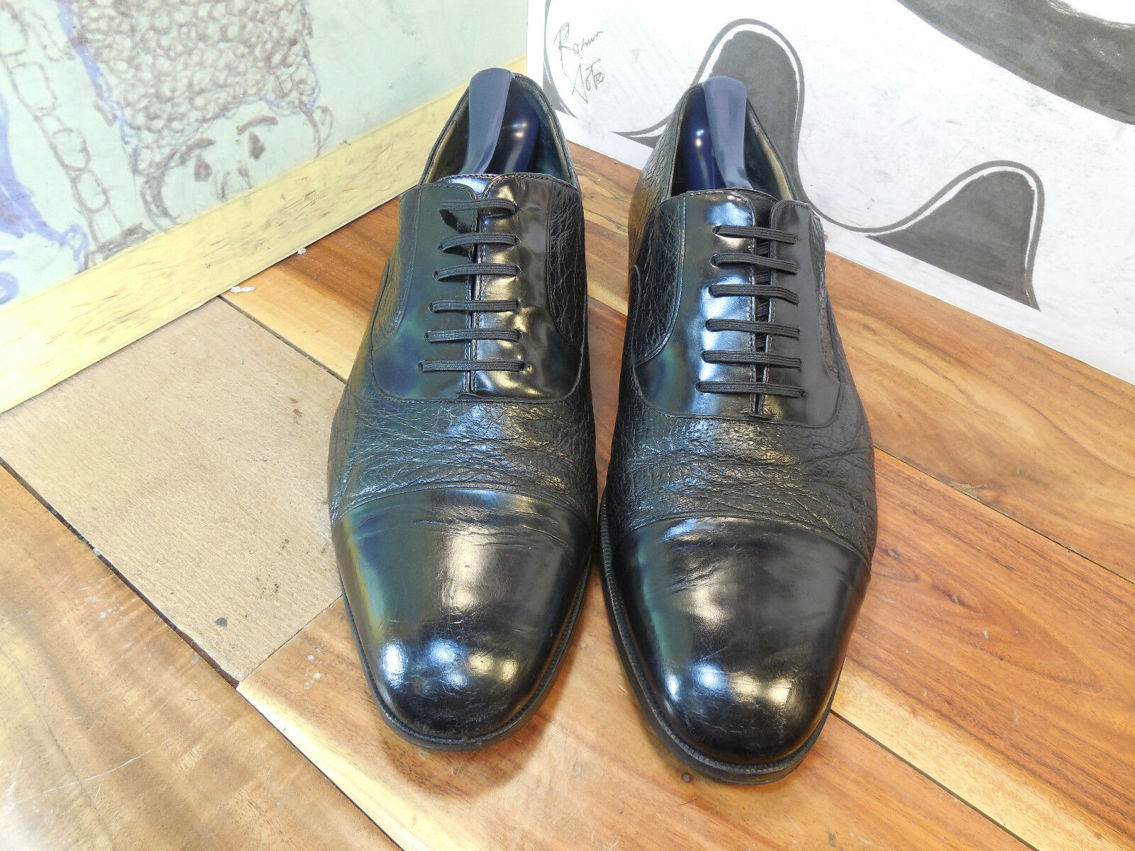 Black Leather Sz Cap Toe Oxfords Sz Leather 10.5M Truly Vintage c5ddbc