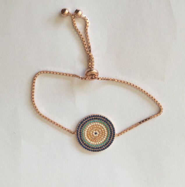 sterling silver 925 rosegold plated evil eye bracelet